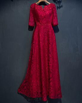 結婚式ドレス フォーマル イブニングドレス バックレス ワイン レッド エレガント エンパイア レース アップリケ 52120190411