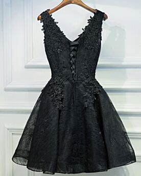 Cocktail Dress Cute Semi Formal Dress Short Fit And Flare Tulle Lace Appliques Black