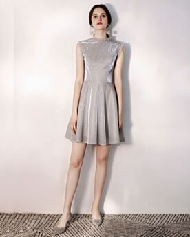 Cocktail Dress Glitter Semi Formal Dresses Short Sleeveless High Neck Gray