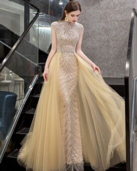 Pailletten Lange Abendkleider Gold Perlen Hochgeschlossene Ballkleider