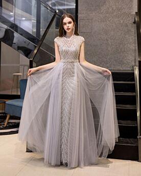 Silber Ärmellos A Linie Lange Hochgeschlossene Perlen Pailletten Ballkleider Abendkleid Glitzernden