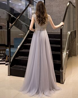 Sequin Long Prom Dress Formal Dresses High Neck Sleeveless Silver Princess Sparkly