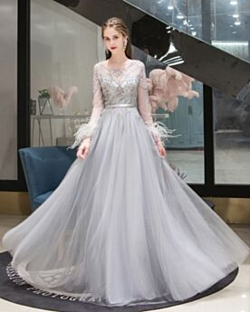 Prom Dress Empire Elegant Formal Evening Dresses Beaded A Line Long Sleeved Gray