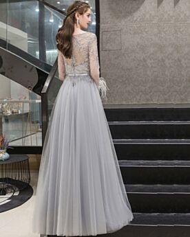 Impero In Tulle Vestiti Prom Lunghi Gioiello Con Strass Vestiti Cerimonia Eleganti Grigio Perla Manica Lunga