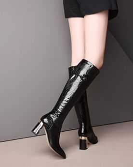 High Heels Tall Boots Knee High Boots Black Leather Block Heel