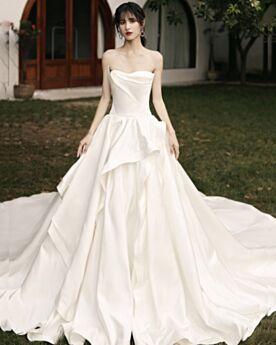 Robes De Mariée Princesse À Volants Satin Bustier Vintage