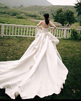Herz Ausschnitt Tragerloses Rüschen Lange Ärmellos Mit Schleppe Brautkleid Elegante Vintage