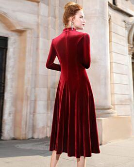 Robe De Ceremonie Velours Perlage Strass Robe Pour Mariage Longueur Genou Élégant Modeste Robe Mère De Mariée Manche Longue Princesse