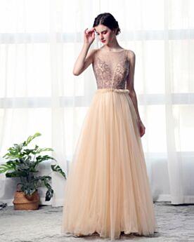 Ballkleider Perlen Tiefer Ausschnitt Abendkleider A Linie Lange Transparentes Tüll