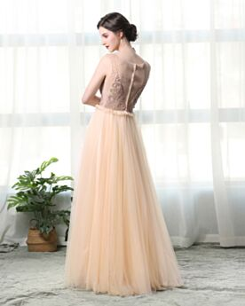 Formal Evening Dress Low Cut Champagne See Through Beaded Long Prom Dress Elegant