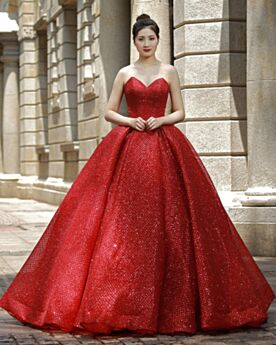 Prom Dresses Sleeveless Ball Gowns Strapless Red Quinceanera Dresses Sparkly Glitter Open Back