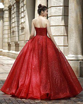 Abiti Da Cerimonia Schiena Scoperta Principessa Rosso Glitter Lunghi
