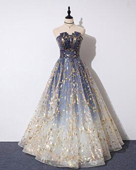 Strapless Elegantes De Tul Linea A Largos Vestidos De Noche Azul Noche
