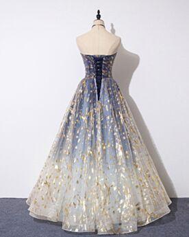 Robe De Soirée Empire Princesse Bustier Élégant Dos Nu Bleu Sans Manches