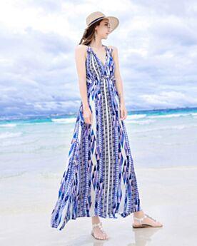 Mousseline Maxi Dos Nu Robe De Plage Empire D ete Décolleté Sexy Imprimée Robe Femmes Robe Bohème Bleu Ciel