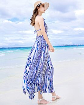 Empire Sexy Bohemian Long Sky Blue Halter Dress Summer Beachwear