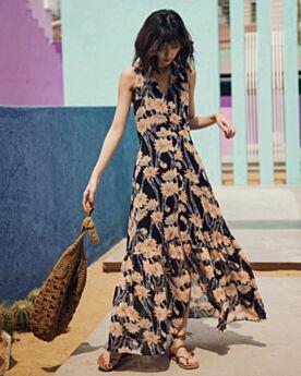 Swing Low Cut Shirt 2018 Bohemian Long Summer Dresses Chiffon