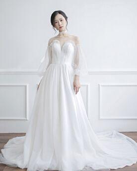 Lange Tiefer Ausschnitt 2018 Mit Schleppe Rückenfreies Brautkleider Kirche Frühlings Applikationen Tüll Weiß Sexy Vintage Transparentes