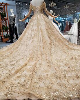 Demi Manche Dorée Perlage Avec La Queue Luxe Sequin À Frange Robe De Mariée Dos Nu Décolleté Longue Brillante Élégant