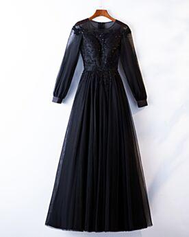 Spitzen Tüll A Linie Elegante Lange Ärmel Applikationen Abendkleider Schwarz