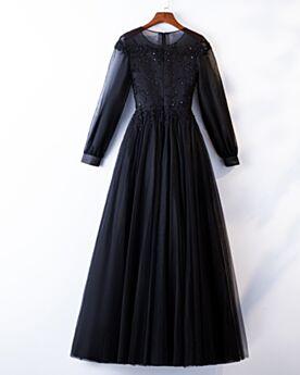 Robe De Soirée Dentelle Princesse Longue Élégant Manche Longue Modeste Noir
