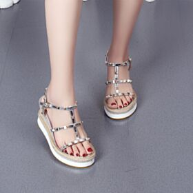 Patent Studded Wedges 8 cm High Heel Sexy Leather Braided Silver Espadrilles Sandals