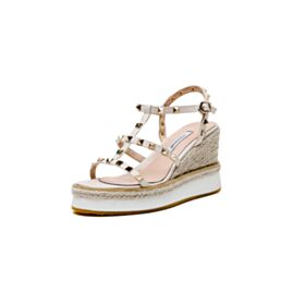 Braided Platform Patent 3 inch High Heel Wedges Sandals Going Out Shoes Espadrilles White Gladiator Shoes For Women Studded Fashion Leather