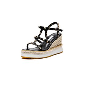 Studded High Heels Going Out Shoes Wedges Sandals For Women Espadrilles Leather Black Sexy