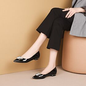 Black Patent Classic Ballerina Leather Comfortable Flat