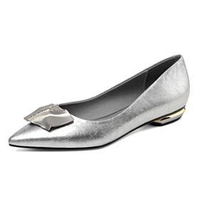 Mit Strasssteine Klassisch Spitz Zeh Lack Comfort Ausgehen Flache Silber Ballerina Schuhe
