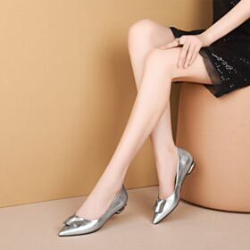 Leather Going Out Shoes Classic Flat Silver Pointed Toe Patent Ballerina Comfort