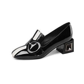 Klassiek Blokhakken 4 cm Kitten Heels Wit Zwart Ronde Neus Colorblock Instappers Comfortable