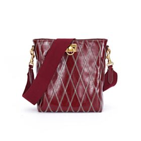 Burgundy Womens Handbag Leather Going Out Vintage Quilted Crossbody Shoulder Bag
