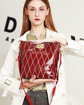 Crossbody Vintage Taschen Lack Umhängetasche Gesteppte Casual Burgunderrot