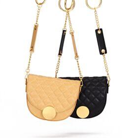 Schöne Umhängetasche Schwarz Mode Mit Goldkette Leder Gesteppte Casual 2020 Crossbody Handtasche