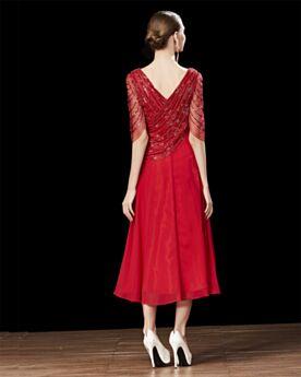 Princesse Dos Nu Brillante Demi Manche Mi Longue Robe Habillée Rouge Robe Cocktail Sequin Mousseline