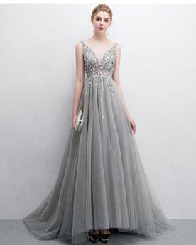 Gris Vestidos Fiesta De Dia Vestidos Para Prom Transparentes Espalda Descubierta Escotados Largos Bohemios Vestidos De Noche Con Cuentas