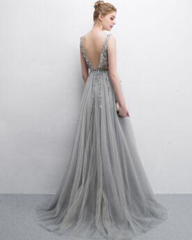Abendkleider Lange Schöne Transparentes Boho Ballkleid Perlen Mit Schleppe