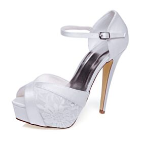 Satijnen Plateau 2020 Hoge Hakken Bruidsschoenen Sandalen Enkelband Peep Toe Kanten Witte Stiletto