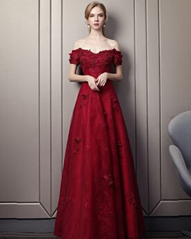 Off The Shoulder Elegant Formal Evening Dress Prom Dress Backless Lace Burgundy Bridesmaid Dresses 2018 Empire