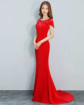 Vestiti Cerimonia Lunghi Girocollo Rosso Sirena Tulle Abiti Da Sera Di Raso Maniche Corte