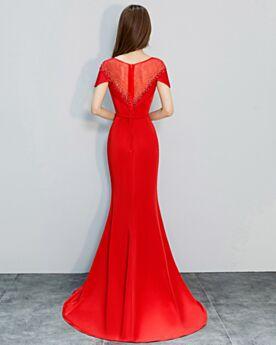 Abendkleider 2018 Rot Meerjungfrau Lange Perlen Rundhalsausschnitt Kurzarm Festliche Kleider Elegante Schlichte