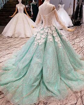 Lange Mouw Met Staart Baljurk Franjes Galajurken Hoge Kraag Pailletten Kanten Applique Sparkle Turquoise Luxe 2019 Glitter