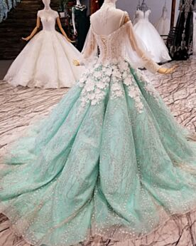 Transparent Sweet 16 Dresses With Train Glitter Fringe Prom Dress Sparkly Lace Juniors Quinceanera Dresses Plunge Luxury Ball Gown Turquoise High Neck Sequin