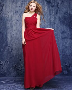 Pleated Dress For Wedding Red Long Chiffon Summer Bridesmaid Dress Elegant One Shoulder Empire