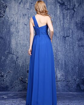 Pleated Simple Sleeveless One Shoulder Empire Wedding Guest Dresses Cold Shoulder Backless Chiffon Bridesmaid Dress Beautiful Royal Blue