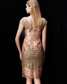 Glitter Semi Formal Dresses Gold Knee Length With Belt Sheath Lace Scoop Neck Cocktail Dress