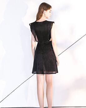 Little Black Dress Vestiti Da Cocktail Tulle Abiti Cerimonia Neri Corti Balze Semplici Svasato