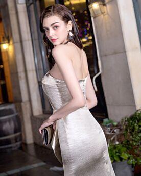 Fit N Flare Champagner Schlichte Ärmellos Rückenausschnitt Schößchen Mit Schlitz Sexy Cocktailkleider