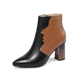 Color Block Booties 3 inch High Heel Pointed Toe Brown Going Out Shoes Modern Fur Lined Thick Heel